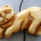 Ox Bone Carved Cat Pendant Bead 43mm*25mm  T1765