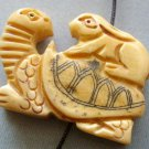 Ox Bone Carved Turtle Rabbit Pendant Bead 33mm*25mm  T1767