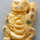 Ox Bone Carved Cat Pendant Bead 33mm*24mm  T1768
