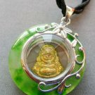 Light Green Jade Alloy Metal Buddhist Buddha Amulet Pendant 25mm*25mm  T1812