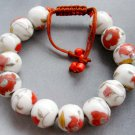 Porcelain Flower Leaf Beads Bracelet  T1872