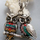 Multi-Color Acrylic Diamond Alloy Metal Two Owl Pendant Necklace 38mm*35mm  T1880