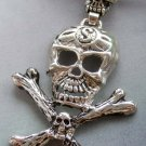 Alloy Metal Skull-Heads Skeleton Pendant Necklace 60mm*50mm  T1887