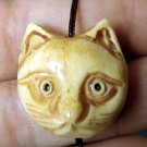 Ox Bone Carved Cat-Head Pendant Bead 22mm*21mm  T1929