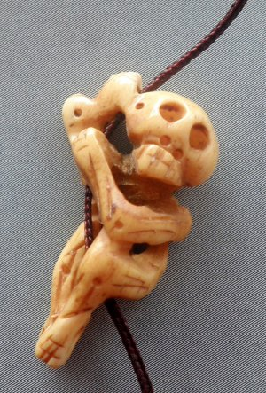 Ox Bone Carved Skull Pendant Bead 30mmm*18mm  T1967