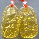 Pair Of Yellow Crystal Quartz Dragon Phoenix Love Amulet Pendant 35mm*18mm  T1982