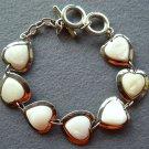 Natural Sea Shell Alloy Metal Heart Beads Bracelet  T1983