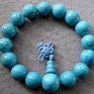 12mm Blue Turquoise Beads Tibet Buddhist Prayer Mala Bracelet  T2003