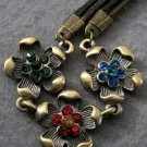 Acrylic Diamond Alloy Metal Flower Pendant Necelace 18mm*18mm  T2007