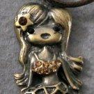 Acrylic Diamond Alloy Metal Seamaid Mermaid Pendant Necklace 50mm*23mm  T2009