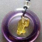 Yellow Purple Crystal Quartz Circle Dolphin Pendant 30mm*30mm  T2043