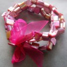 Pink Veins Sea Shell Beads Bracelet  T2054