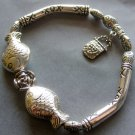 Alloy Metal Twin Fishes Flower Beads Bracelet With Bag Pendant  T2070