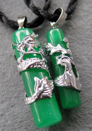 Pair Of Malay Jade Alloy Metal Dragon Phoenix Love Amulet Pendant  T2096