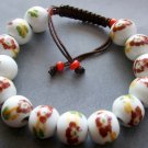 12mm Hand Crafted Porcelain Flower Leaf Beads Bracelet  T2125