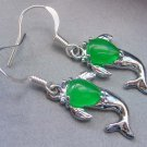 Pair Of Malay Jade Alloy Metal Dolphin Earrings 18mm*11mm  T2132