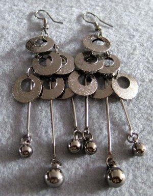 Pair Of Alloy Metal Earrings 70mm*28mm  T2137
