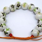 12mm Porcelain Flower Leaf Beads Bracelet  T2141
