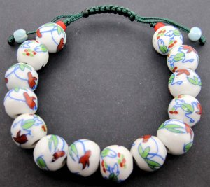 12mm Procelain Flower Leaf Beads Bracelet  T2143