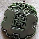 Vintage Style Black Green Jade Pendant 50mm*45mm  T2154