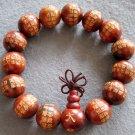 15mm Tibet Buddhist Calligraphy Word Rosewood Beads Prayer Mala Bracelet  T2157