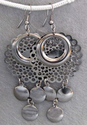 Pair Of Alloy Metal Earrings 63mm*35mm  T2158