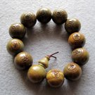 19mm Green Sandalwood FO Kwan-Yin Tibet Buddhist Prayer Mala Bracelet  T2162