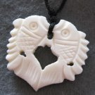 Ox Bone Carved Twin Fishes Pendant 25mm*25mm  T2188