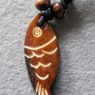 Ox Bone Carved Fish Pendant 45mm*16mm  T2221