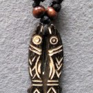 Ox Bone Carved Twin Fishes Pendant Necklace 45mm*18mm  T2224