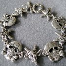 Alloy Metal Skull Beast Heads Beads Bracelet  T2238
