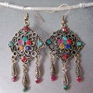 Pair Of Vintage Style Multi-Color Acrylic Diamond Alloy Metal Earring  T2242