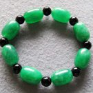 Green Jade And Black Agate Beads Bracelet  T2251