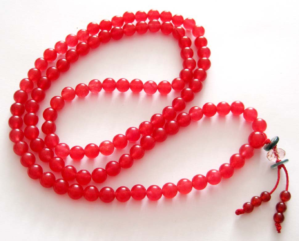Tibet Buddhist 108 Red Jade Beads Prayer Mala Necklace  6mm  ZZ026