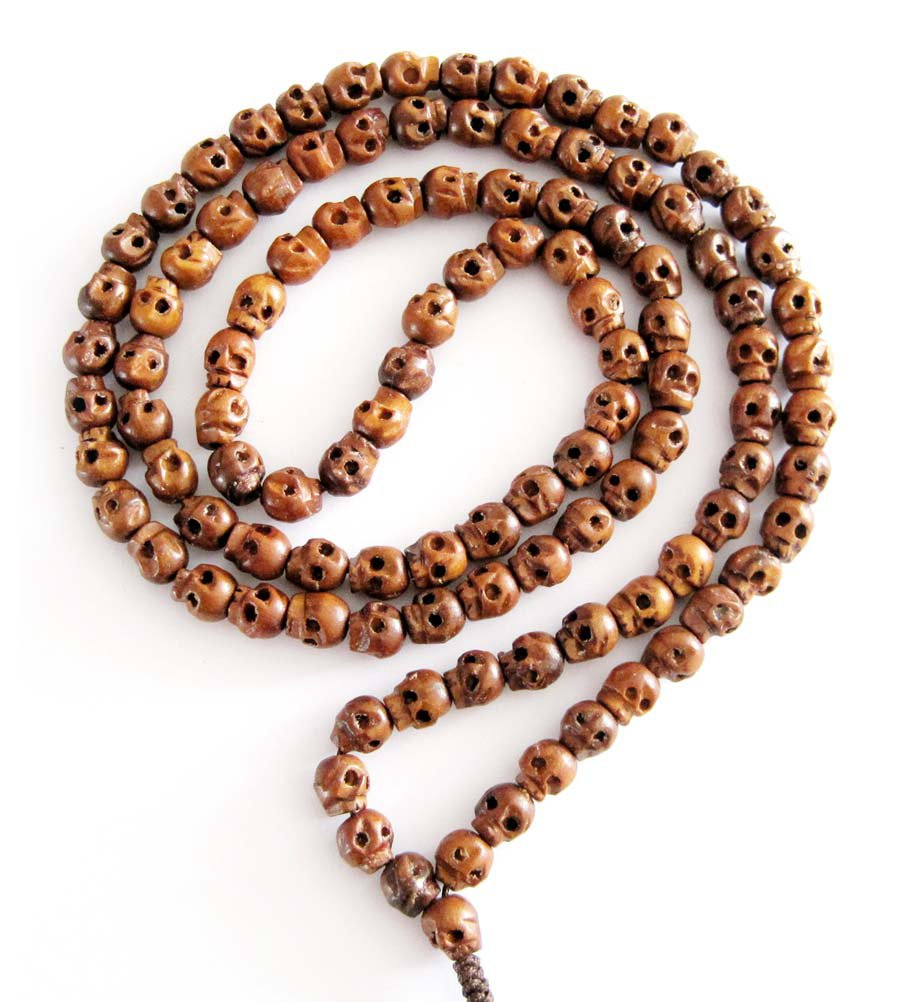 Tibet Buddhist 108 Wood Skull Beads Prayer Mala Necklace  ZZ051