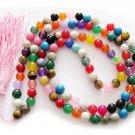 Tibet Buddhist 108 Multi-Color Mixed Beads Prayer Mala Necklace 8mm  ZZ094