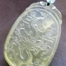 Light Green Jade Mythical Celestial Dragon Amulet Pendant 45mm*30mm  T2267
