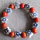Porcelain Flower And Global Shape Beads Bracelet  T2277