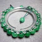 Green Jade And Crystal Quartz Beads Bracelet  T2286