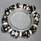 Black White Porcelain Chinese 12 Zodiac Animals Beads Bracelet  T2287