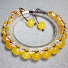 Yellow Jade And Crystal Quartz Beads Bracelet  T2288