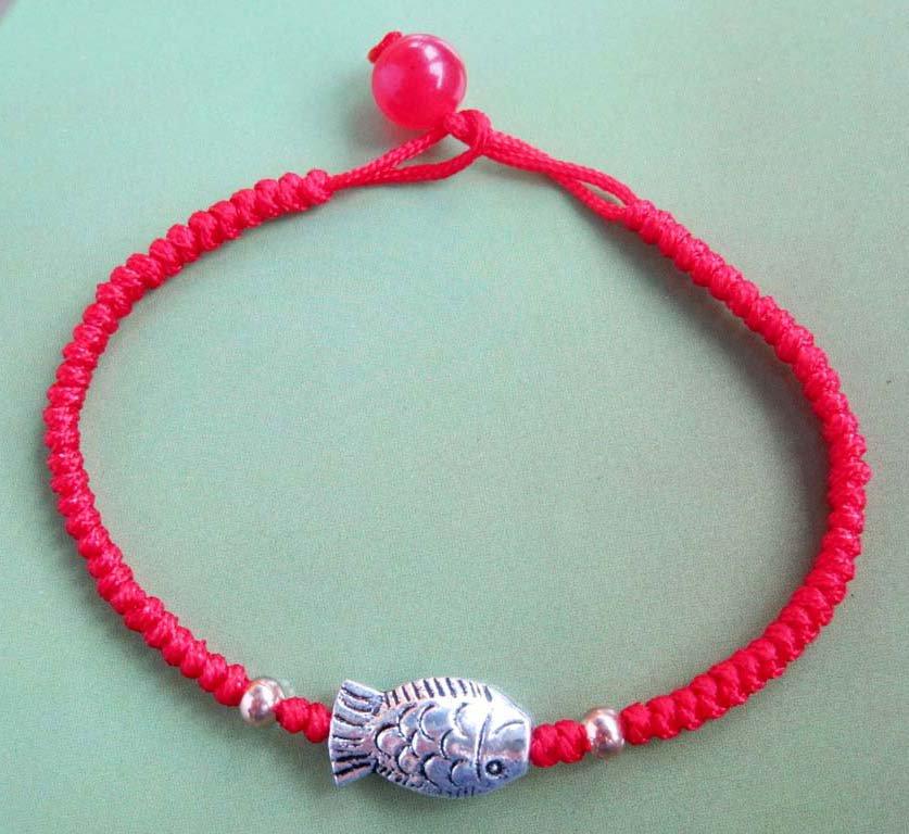 Alloy Metal Fish Red Jade Beads Bracelet  T2311