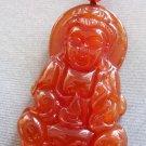 Red Agate Tibet Buddhist Kwan-Yin Pu-Sa Amulet Pendant 40mm*25mm  T2312