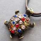 Acrylic Diamond Alloy Metal Longeivty Turtle Pendant 30mm*22mm  T2343