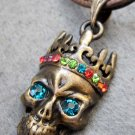 Acrylic Diamond Alloy Metal Skull-Head Pendant T2344