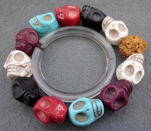 Multi-Color Turquoise Gem Carved Skull-Head Beads Bracelet  T2361