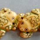 Ox Bone Carved Four Frogs Toads Pendant 90mm*20mm T2383
