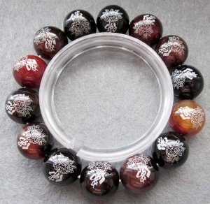 14mm Dream Agate Gem FO Lotus Beads Tibet Buddhist Bracelet  T2397