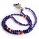 4mm 108 Purple Jade Beads Tibet Buddhist Prayer Mala  ZZ171