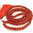 8mm 108 Red Agate Gem Beads Tibet Buddhist Prayer Mala Necklace  ZZ179